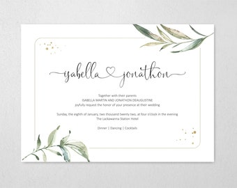 Wedding Invitation Template Bundle, Printable Set, Greenery, Connecting Heart, Simple Elegant Floral Instant Download DIY Editable PDF Suite