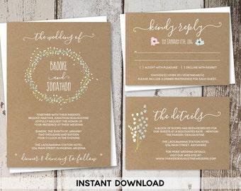 Wedding Invitation Template - Rustic Floral Foliage Wreath Printable Kraft Paper Set | Editable PDF Instant Download Digital File Suite