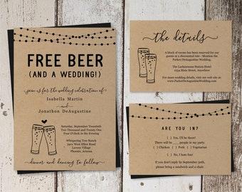 Funny Wedding Invitation Template - Free Beer Fun Brewery Printable Set - Rustic Kraft Paper | Instant Download PDF Suite - Lights