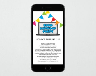 Zoom Birthday Party Invitation Template, Extra Wording, Printable Invite Evite Instant Download Digital File Kid Girl Boy Adult Man Woman
