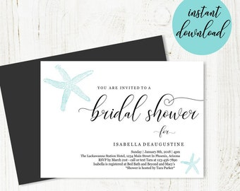 Beach Bridal Shower Invitation Template, Printable Beach Theme Invite, Unique Simple Starfish, Wedding Instant Download Digital File DIY PDF