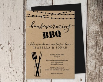 Housewarming BBQ Invitation Template, Printable House Warming Barbeque Party, Barbecue Invite, Rustic Kraft Paper Instant Download File PDF