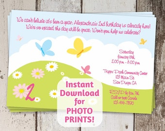 Adorable Poem 1st, 2nd, 3rd Flowers & Butterflies Cute Girly Birthday Invitation - Instant digital file download - photo prints / card stock