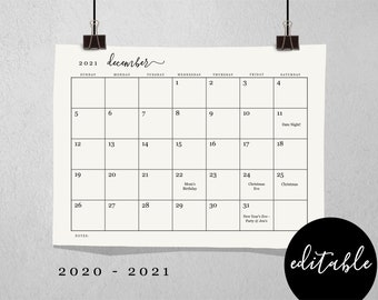 Editable Monthly Calendar Template - Printable 2019 and 2020 Desk Month Calendar - Simple Black & White - PDF Instant Download Digital File