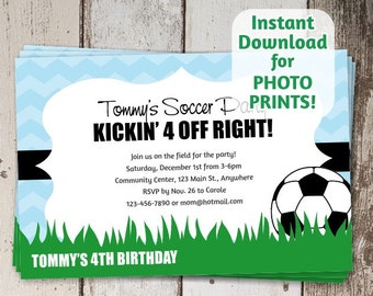 Soccer Invitation for Boys Birthday or Team Party - Instant printable digital file download - order photo prints or print on card stock