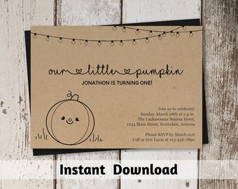 Rustic Our Little Pumpkin First Birthday Invitation Template, Printable Pumpkin Baby Shower Invitation Download, Gender Neutral, Kraft, 1st