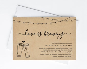 Love is Brewing Couple's Shower Invitation Template, Rustic Beer Brewery Bridal Wedding Rehearsal Dinner Engagement Party Invite Download
