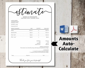 Printable Estimate Template - Price Quote, Work Proposal, Business Form - Word, PDF Download -  Simple Editable Personalized Customize