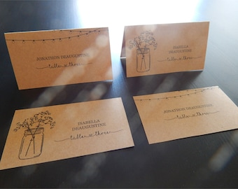 Wedding Place Card Printable - Placecard Template Download - Rustic Mason Jar & Fairy Lights - Kraft Paper - Avery Tent Card Business Card