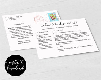 Editable Recipe Card Postcard Template - Printable Recipe Card by Mail Size 5.5x4 DIY Stationery Digital File Instant Download PDF Realtor