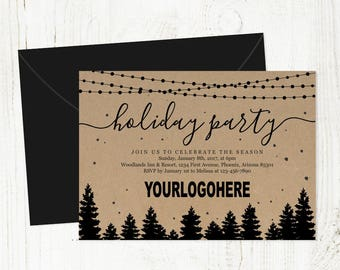 Add Business Logo - Corporate Holiday Party Invitation - Printable Company Christmas Party Invitation Template - Personalized Xmas Download