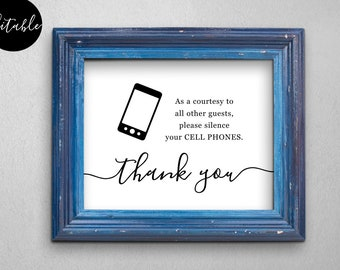 Editable No Cell Phone Sign Template, Business Wedding Home Doctor Medical Office - DIY Printable Instant Download Digital File PDF 5x7 8x10