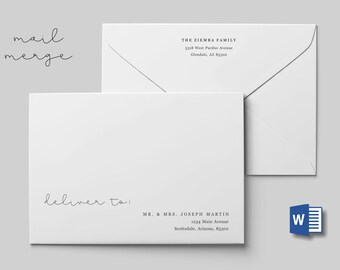 Wedding Address Envelope Template for Microsoft Word Mail Merge - Printable Minimalist Instant Download Digital File A7 - Christmas