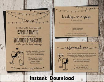 Wine & Beer Glass Toast Wedding Invitation Template - Rustic Winery Brewery Distillery Printable Set - Kraft Paper | Instant Download Suite