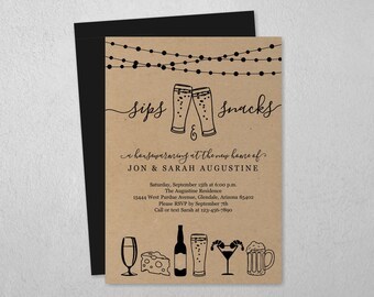 Sips & Snacks Invitation Template, Housewarming Business Event Engagement Party Couple Shower, Beer Bite Appetizer Hors d'oeuvre Invite