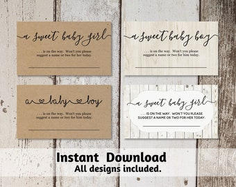 Baby Name Suggestions Card Printable Template, Gender Reveal, Baby Shower Game, Gender Neutral Rustic, Instant Download PDF, Business Card