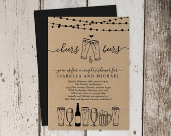 Cheers & Beer Couple Shower Invitation Template, Beer Bridal Wedding Rehearsal Dinner Engagement Party, Brewery Invite Download, Kraft Paper