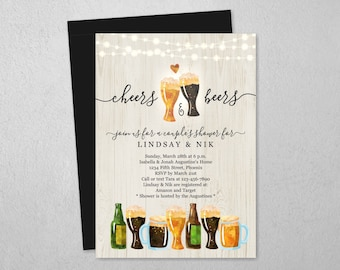 Cheers & Beer Couple Shower Invitation Template, Beer Bridal Wedding Rehearsal Dinner Engagement Party, Brewery Invite Download, Text Email