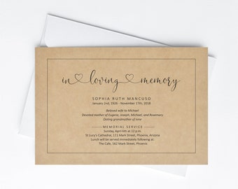 Funeral Announcement Invitation Template, Printable Memorial Service Invite, Mass Card Invite, Kraft Paper, Instant Download Digital File