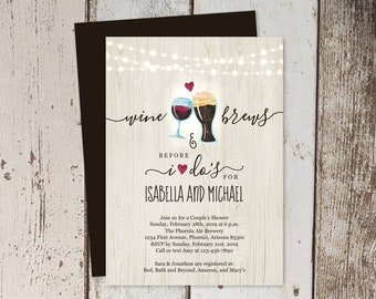 Wine & Brew Before I Do Couple Shower Invitation Template, Beer Wedding Rehearsal Dinner Party, Wood Brewery Invite Instant Download 5x7 4x6