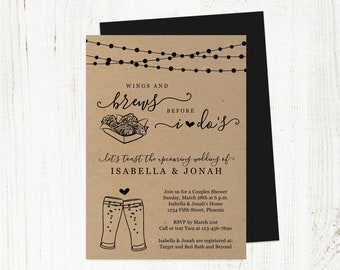 Wings & Brews Before I Do Couple Shower Invitation Template, Wings and Beer Bridal Wedding Rehearsal Dinner Engagement Party Invite Download