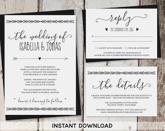 Wedding Invitation Template - Printable Set | Boho Heart & Arrow Suite on Kraft Paper | Rustic Bohemium Editable PDF | DIY Instant Download