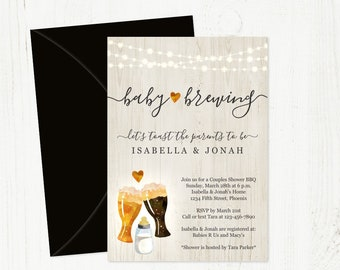 Baby is Brewing Invitation Template - Printable Beer Brewery Baby Shower - Glass Toast & Baby Bottle - Instant Download Editable PDF File