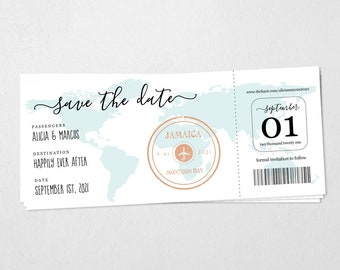 Destination Wedding Boarding Pass Save the Date Invitation Template - Printable Card - Easy Editable Instant Download Digital File PDF