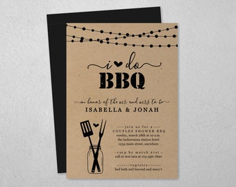 I Do BBQ Invitation Template - Couple Wedding / Bridal Shower, Engagement Party, Rehearsal Dinner - Printable Rustic Mason Jar Download File