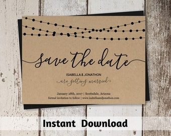 Simple Save the Date Card Printable Template - Rustic String Lights, Calligraphy, Kraft Paper, DIY PDF Instant Download Digital File 4x6 5x7