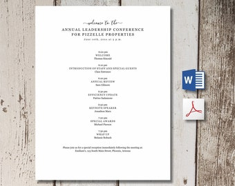 Meeting Agenda Template - Printable Formal Business Board Team Event Program - Word, PDF Download -  Simple Editable Personalize Customize