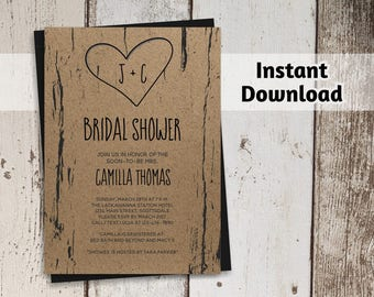 Bridal Shower Invitation Template - Printable Bridal Shower Invitation, Wedding, Rustic Tree, Carved Initials, Instant Download Digital File