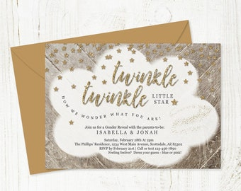 Twinkle Twinkle Little Star Gender Reveal Invitation Template, Printable Invite Theme, Instant Download Digital File PDF 5x7