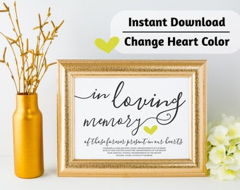 In Loving Memory Wedding Sign - Add Names - Printable Template - Personalized Wedding Reception Print - Editable Text - PDF Instant Download