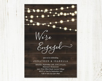 Engagement Party Invitation Template, Printable Rustic Card Invite Evite PDF Instant Download Editable Digital File, String Fairy Light Wood