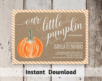 Printable Pumpkin First Birthday Invitation Template - Gender Neutral Baby Shower - Rustic Little Pumpkin 1st Fall Party - Instant Download