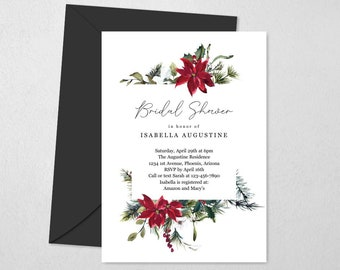 Christmas Floral Bridal Shower Invitation Template, Printable Holiday Watercolor Poinsettia Invite Evite, Editable Instant Download Digital