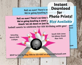 Bowling Invitation for Birthday Party - girls pink / boys blue - Instant digital file download - Use invite for photo prints or card stock!