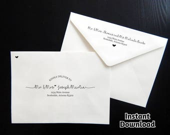 Wedding Envelope Template - Printable Envelope Address Template, Rustic Handwriting Instant Download Digital File Editable PDF A7, Christmas