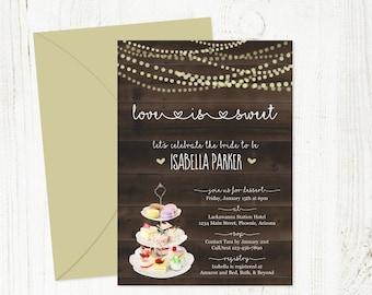 Dessert Bridal Shower Invitation Template, Printable Rustic Love is Sweet Theme, String Fairy Light, Wood, Instant Download Digital File PDF