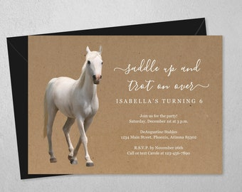 Girls Horse Invitation Template, Printable Horse Riding Birthday Party Invite & Evite Instant Download Digital File PDF, Rustic Kraft Paper