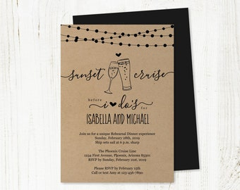 Bubble & Brew Sunset Cruise Rehearsal Dinner Engagement Party Wedding Invitation Template, Printable Champagne Beer Invite Digital Download