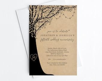 Anniversary Party Invitation Template, Rustic Kraft Paper Invite Instant Download Digital File, 20 20th 25 25th 30 30th 40 40th 50 50th Year