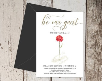 Beauty & the Beast Birthday Invitation Template, Printable Girl Fairytale Invite, Red Rose, Gold Glitter, Instant Download Digital File PDF