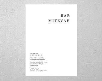 Minimalist Bar Bat Mitzvah Invitation Template - Printable Modern Simple Invite & Evite, Instant Download Digital File PDF, All In One