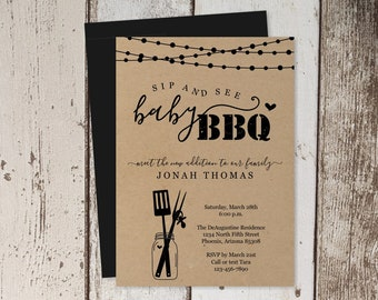 Sip and See BBQ Invitation Template - Printable DIY Sip & See BBQ Invite - Kraft Paper - Instant Download Digital File Pdf Barbecue Barbeque