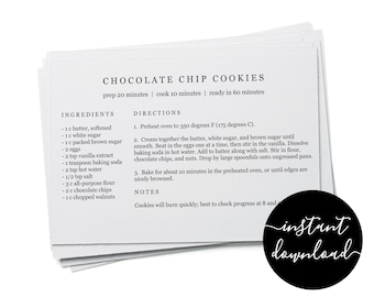 Editable Recipe Card Template - Printable Index Card Size 3x5 4x6 5x7 Easy White Simple Fillable Maker DIY Digital File Instant Download PDF
