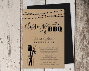 Baptism BBQ Invitation Template - Printable Christening Barbeque, 1st First Communion Barbecue, Confirmation Party - Instant Download File