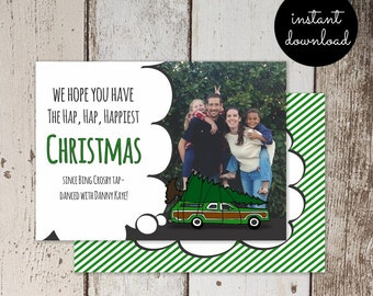 National Lampoon Christmas Vacation Holiday Card Template - Add Photo Picture - Unique Funny Fun Printable Instant Download Digital File
