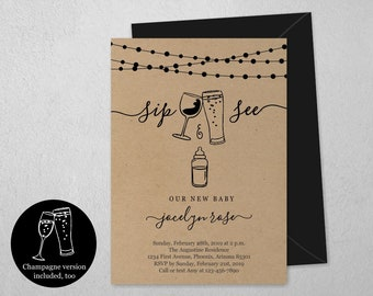 Girl / Boy Sip and See Invitation Template, Printable Champagne Wine Beer Baby Shower Party Invite, Evite, Instant Download Digital File PDF